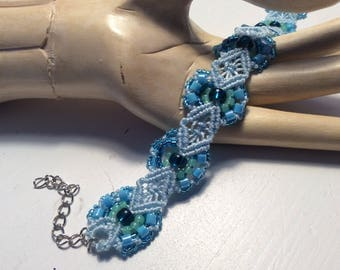 Turquoise and Aqua  Hyacinth Flower Micro Macrame Bracelet, boho bracelet, yoga jewellery, glass beads, knotting,