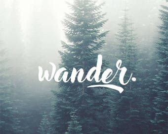 Wander Decal, Nature Decal, Adventure Decal, Typography Decal, Laptop Decal, Macbook Decal, Car Decal, iPad Decal