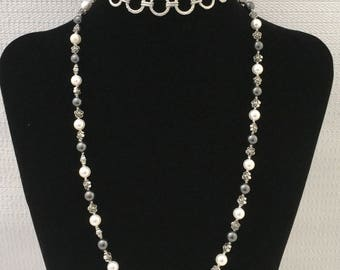 Pearls Necklace, knotted pearls necklace, pearl necklace with small flowers,long pearls necklace with chain, Swarovski pearls necklace