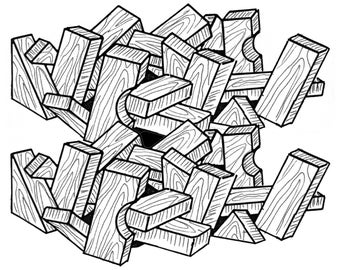 Basic Building Blocks #914 - Woodworking / Craft Pattern. Same Size, Outline Drawings.