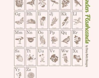 Vintage Garden Flashcards Digi Kit for Journals and Scrapbooking