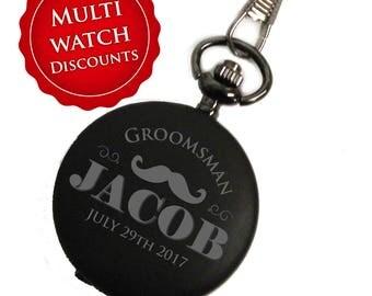 Personalized Pocket Watch, Black Pocket Watch, Engraved Pocket Watch, Groomsmen Gift, Mens Pocket Watch, Pocket Watch Personalized