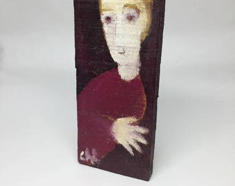 Small painting on wood, decorative gift - Blond and his hand