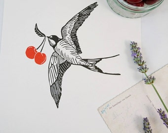 Swallow and Cherry Linocut Print  - Signs of Summer Bird Linoprint - Art or Gift for bird, cherry or tattoo lovers (Edition of 10)