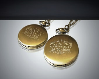 1 Gold Groomsmen Pocket Watch gift - Personalized Pocket watch - Groom and Bride gifts - Best man, Usher and Groomsman gift - Wedding gift