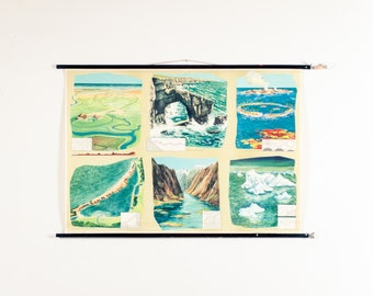 Geology School Chart - Ocean, coast and islands, Vintage Pull Down School Chart, Coastal Features School Map, Scientific Wall Decor