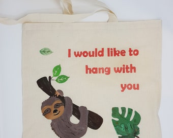 "Tote bag ""sloth"", cotton bag, shopping bag, shoulder bag , reusable bag,  hand painted bag, canvas bag"