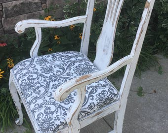 French Provincial Chair ~ Antique Arm Chair ~ Queen Anne Desk Chair ~ Upholstered ~ Gray and White Fabric ~ Distressed ~ White Chippy Paint