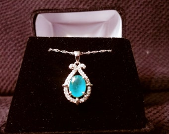 Emerald Gemstone Solid Sterling Silver Necklace