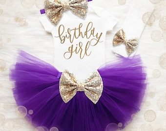 Birthday Girl 1st Birthday Outfit | Purple And Gold 1st Birthday Girl Outfit | First Birthday Shirt | Birthday Tutu Set | First Birthday