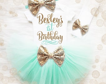 1st Birthday Girl Outfit   Personalized Mint And Gold 1st Birthday Girl Outfit   Birthday Tutu Set   Girl Birthday Shirt