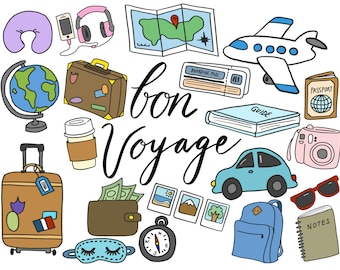 TRAVEL CLIPART, clip art, travel, cute, doodles, vector clipart, airplane clipart, doodle clipart, hand-drawn clipart, and MORE!