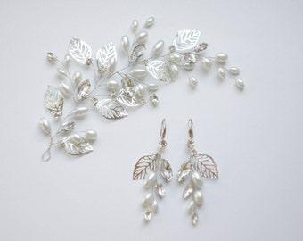 Pearl bridal hair comb, pearl and crystal hair vine, pearl and crystal bridal hair comb, bridal pearl set, bridal hair adornment, earrings