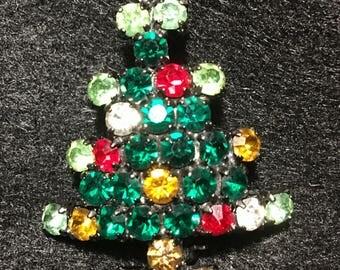 Vintage Australia Replica Rhinestone Christmas Tree Brooch.