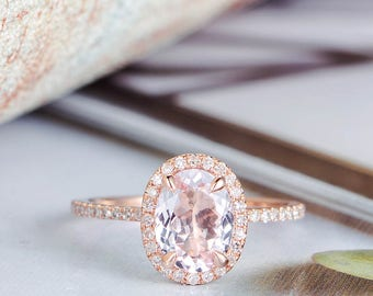 Morganite Engagement Ring Rose Gold Oval Cut Bridal Set Halo Diamond Half Eternity Band Unique Promise Minimalist Anniversary Gift for Her