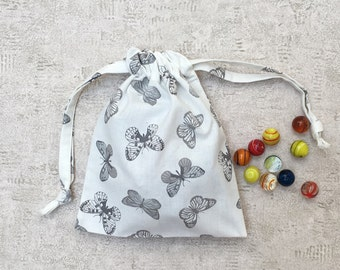 smallbags printed butterflies black and white - cotton bags - zero waste canvas