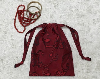 dark red printed smallbag - reusable bag - zero waste