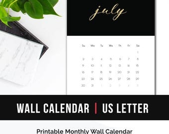 2017 Printable Monthly Wall Calendar • 2017 Wall Calendar PDF Printable Desk Calendar 2017 Monthly Calendar Gold