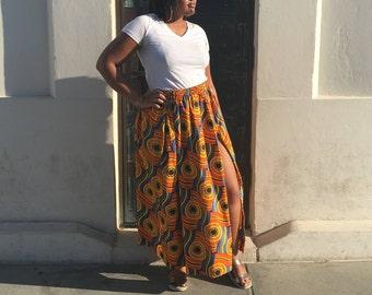 PREORDER Serpent African Print Maxi Skirt