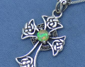 Natural Welo Opal Celtic Cross Pendant or Necklace - Sterling Silver - C142106 - Free Shipping