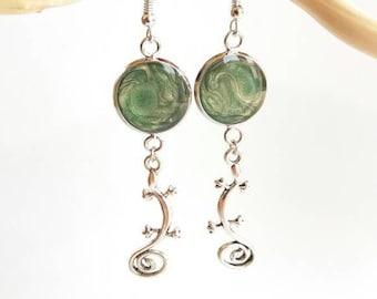 Lizard gecko earrings earrings earrings Pine Green, jungle, made in France, girl gift earrings