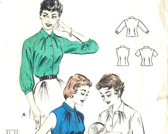 Vintage 1950's Sewing Pattern Quick & Easy Button Front Blouse Bust 36""