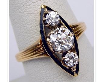 Late Victorian 18k 1.25 Ctw VS2 old european cut diamond enamel ring #10049