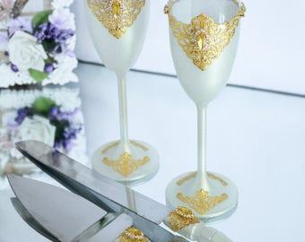 GOLD Wedding Cake Servers & Knives Wedding Cake Server Set Wedding Cake Knife and Server Cake Cutting Bride and Groom 2 pcs
