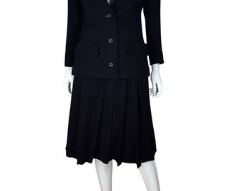 CHRISTIAN DIOR Diorling Vintage Black Wool Two Piece Skirt Suit