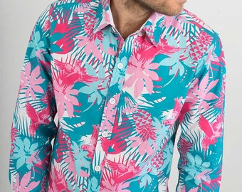 Mens 100% Cotton Long Sleeve Slim Fit Shirt Blue Pink Green White bird Flower Floral Print