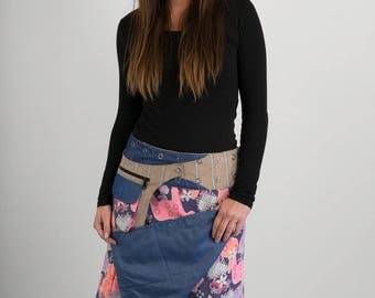 Reversible Pink Horses Corduroy Blue Denim Cotton Skirt Brown Corduroy Belt with detachable Pocket Long Length