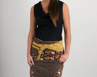 Reversible Cotton Skirt Brown Orange Green Print Orange Print Detachable Pocket Long Length