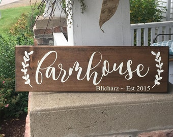 Farmhouse wooden sign with or without name