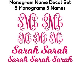 Monogram Decal Set, Monogram Name Decals, Back to School Decals, Decal Name Set, Notebook Decals, Laptop Monograms, School Supply Set