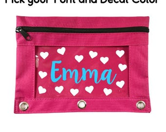 Personalized Zipper Pencil Pouch, 3 Ring Binder Pencil Case, Pencil Binder Pouch, Custom Pencil Pouch, Girls Pencil Pouch, Supply Pouch