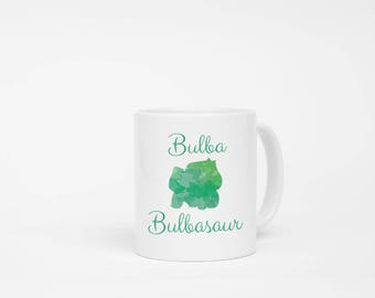 Bulbasaur Watercolor Mug. Pokemon Mug, Pokemon Trainer Mug, Pikachu Mug, Video Game Lover Mug, Boyfriend Gift, Girlfriend Gift