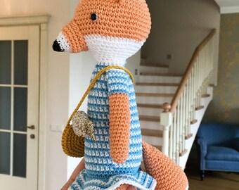 Crochet fox - woodland animal- plush fox -amigurumi fox