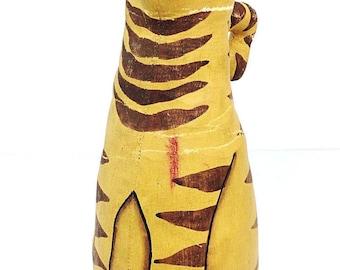 Antique Folk Art Canvas Painted Orange Tabby Kitty Cat Toy Decoration