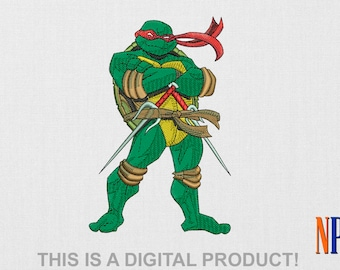 Raphael Teenage Mutant Ninja Turtles machine embroidery design. Embroidery file