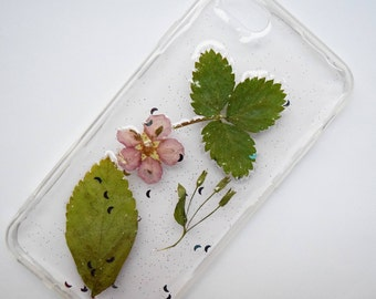 iPhone 7 Dried Green Leaf + Pink Wildflower Moon Glitter Phone Case