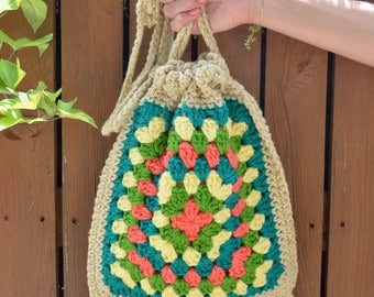 1970s Drawstring Crochet Purse, Handwoven Purse Handbag