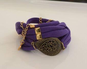 purple  fabric bracelet