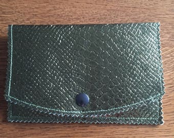 Bottle green snakeskin look leatherette pouch