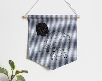 Wall banner 1 color, two sheep, plaid fabric, wall decoration, decoration, gift, baby gift, animal lover