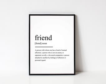 Friend Definition Print, Dictionary Print, Wall Art Prints, Wall Art, Home Decor prints, Quote Prints, Gifts for friends, Christmas Gifts