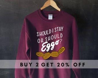 Should I Stay Or Should Eggo? Sweater Sweatshirt, Stranger Things Sweater Sweatshirt, Waffle sweater sweatshirt, the clash sweater