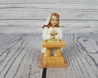 Vintage Praying Girl on First Communion Confirmation Serene and Peaceful Resin Figurine Statue Religious Gift Catholic Baptism Christian