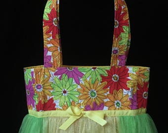 Tutu Tote Bag with Tulle Skirt - Bright Colored Flowers