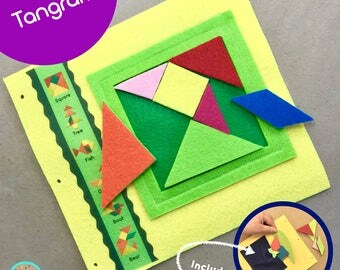 Tangram Puzzle Quiet Book Page for TinyFeats Custom Activity Book- Best Preschool Toys - Math, Art and Geometry for Kids - Mensa Toys