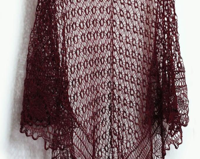 Knitted scarf shawl, knit shawl, openwork shawl, knitted shawl, shawl of wool, knit scarf, delicate shawl, crochet shawl, maroon shawl scarf